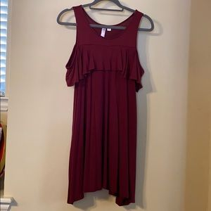 Maroon Cutout Shoulder Dress!